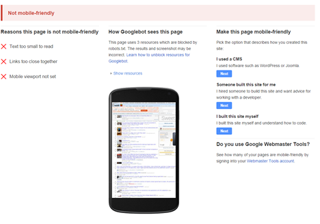 google-sample-not-mobile-friendly-page